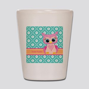 Cute Pink Little Owl Personalized Shot Glass