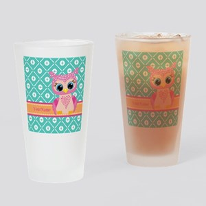 Cute Pink Little Owl Personalized Drinking Glass