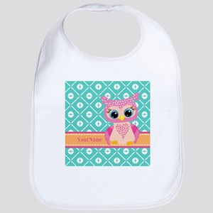 Cute Pink Little Owl Personalized Bib