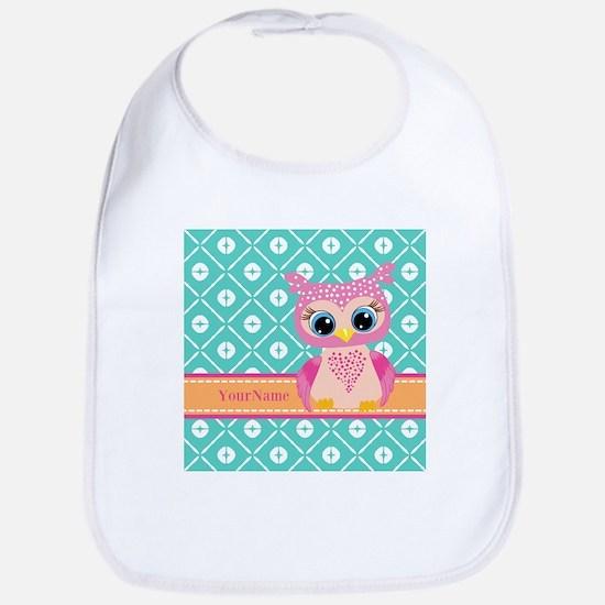 Cute Pink Little Owl Personalized Bib