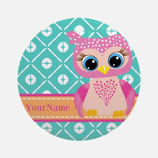 Cute Pink Little Owl Personalized Ornament (Round)