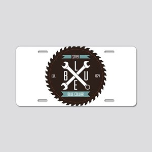 Stay BLUE Collar Aluminum License Plate