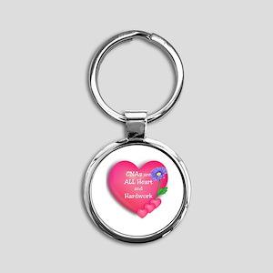 CNA Hearts Round Keychain