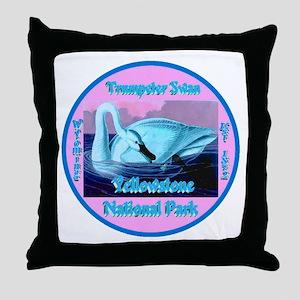 Trumpeter Swan Yellowstone N.P. Wyomi Throw Pillow