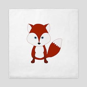 Cute Red Fox Queen Duvet