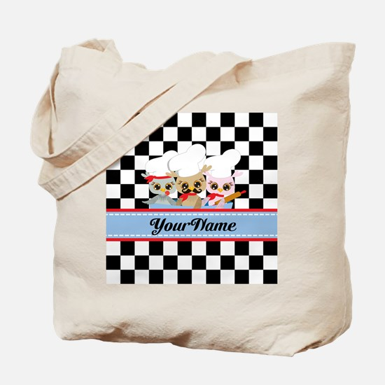 Personalized Chef Owls Mustache Tote Bag