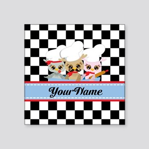 "Personalized Chef Owls Must Square Sticker 3"" x 3"""