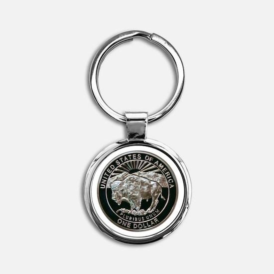 Yellowstone Silver Dollar Round Keychain