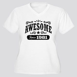 Awesome Since 198 Women's Plus Size V-Neck T-Shirt