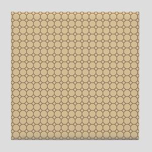 Tan Brown Argyle Checkered Polka Dots Tile Coaster