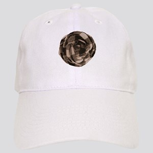 Brown Tan Fabric Flower Baseball Cap