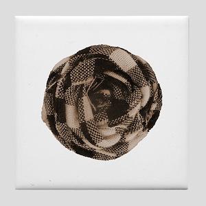 Brown Tan Fabric Flower Tile Coaster