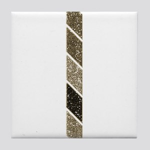 Brown Gold Ombre Stripe Tile Coaster