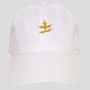 Yellow Autumn Leaf Silhouette Baseball Cap