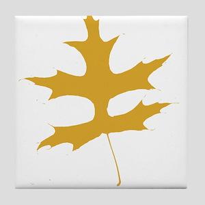 Yellow Autumn Leaf Silhouette Tile Coaster