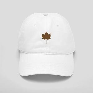 Brown Autumn Leaf Silhouette Baseball Cap