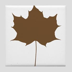 Brown Autumn Leaf Silhouette Tile Coaster