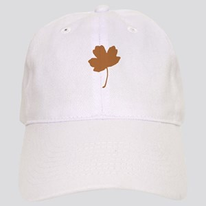 Golden Brown Autumn Leaf Silhouette Baseball Cap