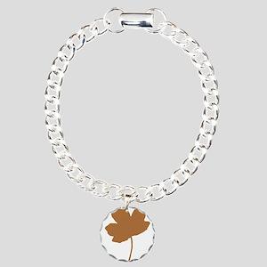 Golden Brown Autumn Leaf Silhouette Bracelet
