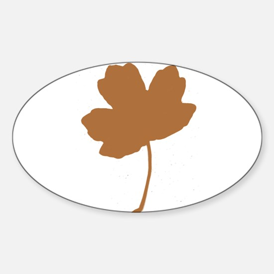 Golden Brown Autumn Leaf Silhouette Decal