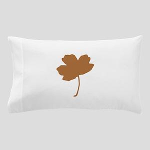 Golden Brown Autumn Leaf Silhouette Pillow Case