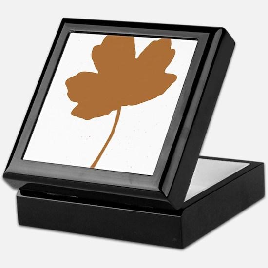 Golden Brown Autumn Leaf Silhouette Keepsake Box