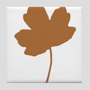 Golden Brown Autumn Leaf Silhouette Tile Coaster