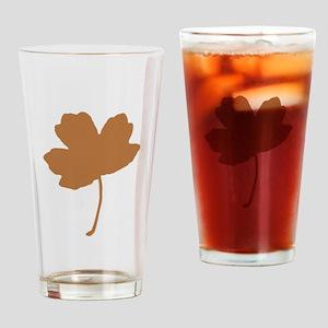 Golden Brown Autumn Leaf Silhouette Drinking Glass