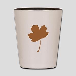 Golden Brown Autumn Leaf Silhouette Shot Glass