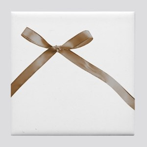 Taupe Brown Ribbon Bow Tile Coaster