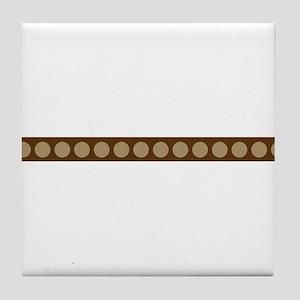 Brown Tan Polka Dots Ribbon Tile Coaster