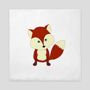 Cute Woodland Red Fox Queen Duvet