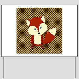 Cute Fox on Polka Dots Yard Sign