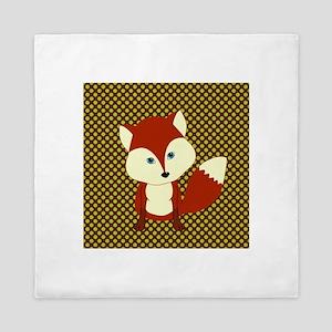 Cute Fox on Polka Dots Queen Duvet