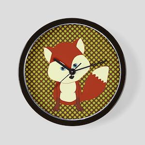Cute Fox on Polka Dots Wall Clock