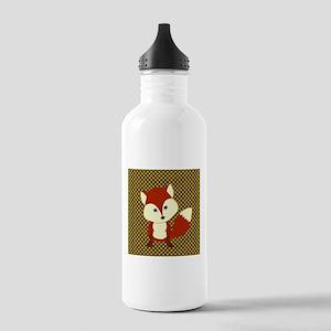 Cute Fox on Polka Dots Water Bottle