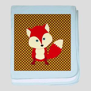 Cute Fox on Polka Dots baby blanket