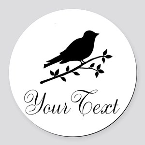 Personalizable Bird Silhouette Round Car Magnet