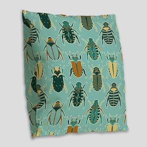 Scarab Beetle Pattern Blue and Brown Burlap Throw