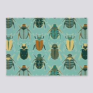 Scarab Beetle Pattern Blue and Brown 5'x7'Area Rug