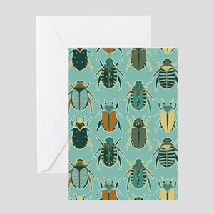 Scarab Beetle Pattern Blue and Brown Greeting Card