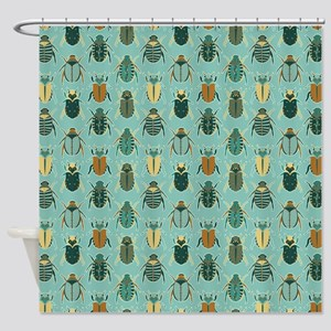 Scarab Beetle Pattern Blue and Brown Shower Curtai