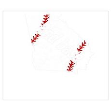 Second Base Baseball Georgia Shirt Softba Wall Art Poster
