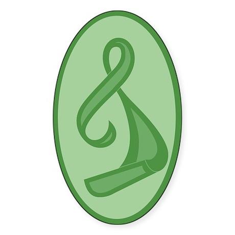 """""""Green Ribbon Twist"""" Oval Sticker"""