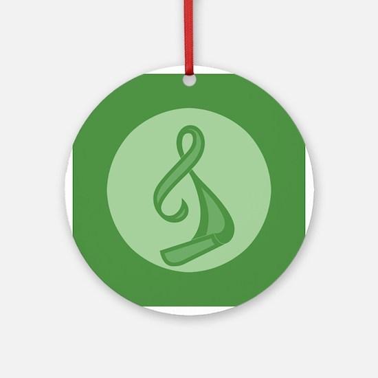 """""""Green Ribbon Twist"""" Ornament (Round)"""
