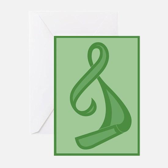 """Green Ribbon Twist"" Greeting Cards (Pk of 10)"