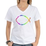 Jesus fish Women's V-Neck T-Shirt