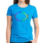 Jesus fish Women's Caribbean Blue T-Shirt