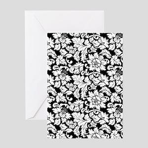 Elegant Black And White Floral Damasks Pattern Gre