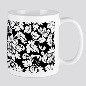 Elegant Black And White Floral Damasks Pattern Mug